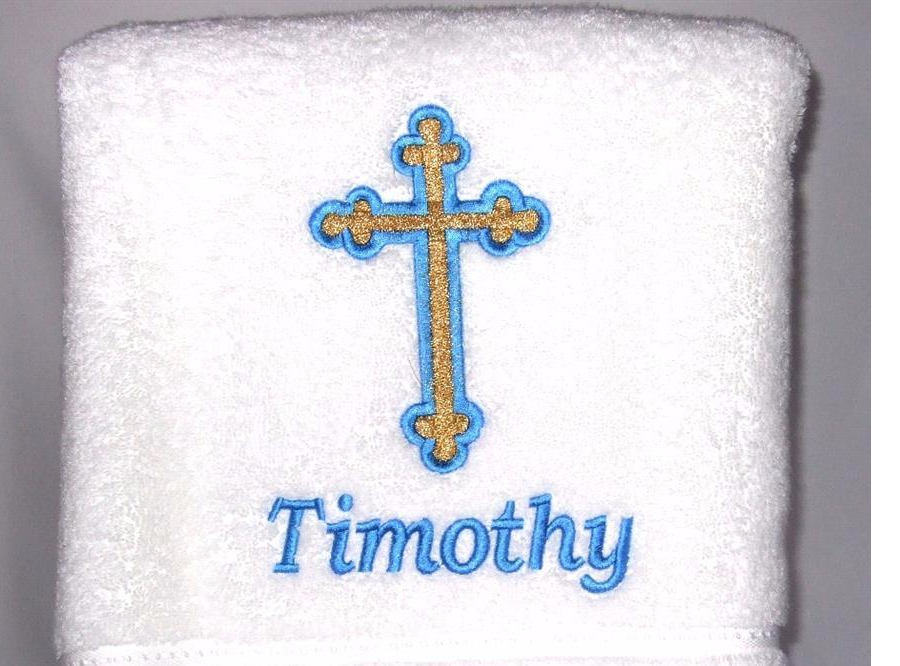 Baptismal towel with rounded end cross and baby name