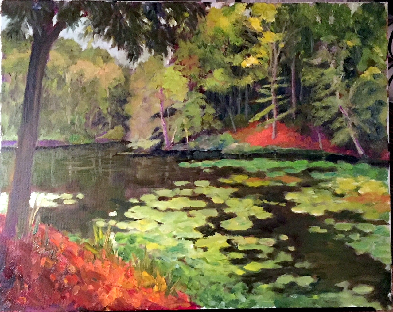 fine art painting, landscape, oil painting, African painting, Tangier River, waterway