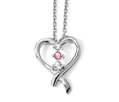 Cancer Heart Ribbon Pendant