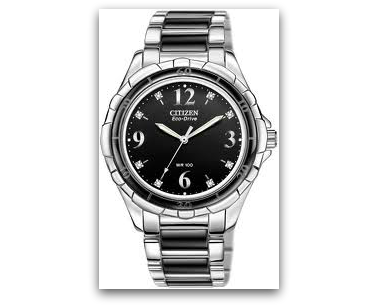 Citizen EM0031-56E Eco-Drive watch wtih black ceramic bezel & bracelet components, 8 diamond markers, 100M water resist