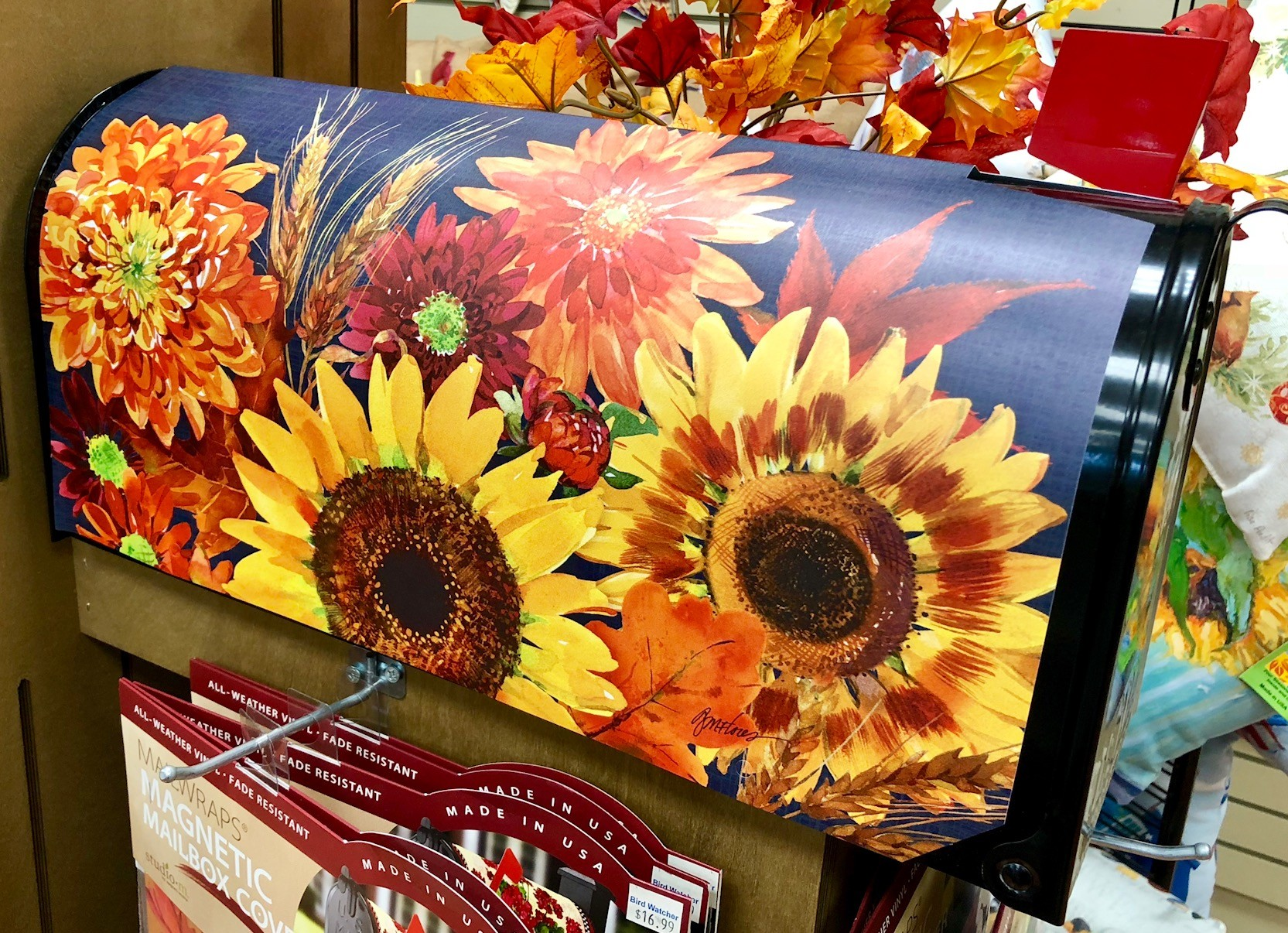 mailbox cover, magnetic, made in the USA, fall, sunflowers
