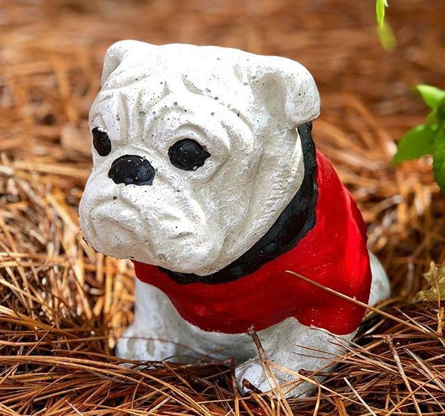 bulldog, UGA, critters, cement, garden statue, red and black
