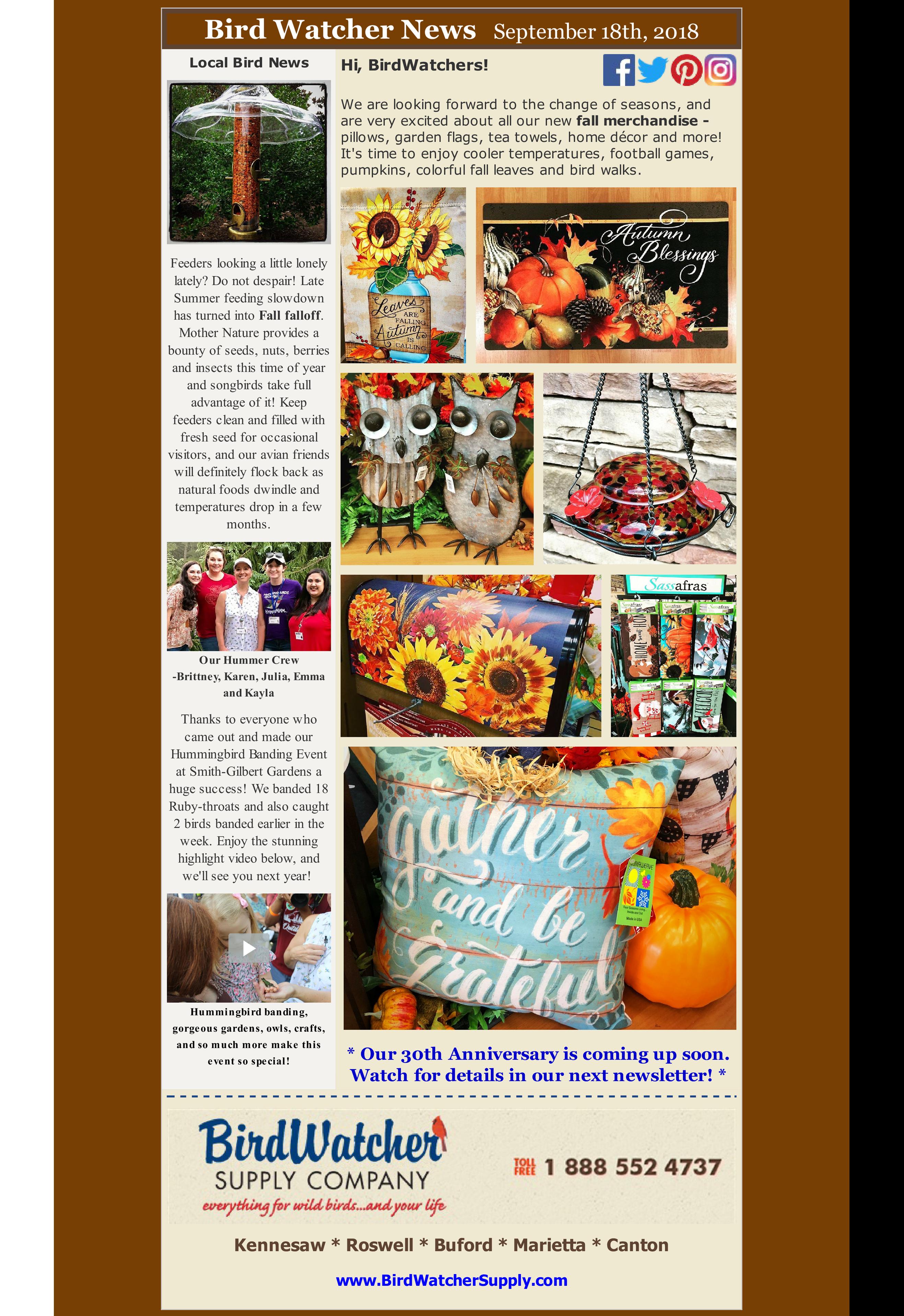 shop local, shop small, fall, bird feeding, video, home decor, garden, flag