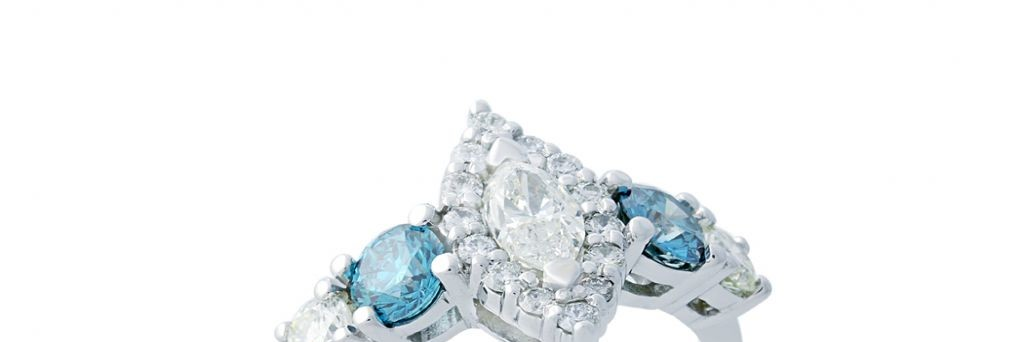 Marquise Center with Round Blue Diamonds