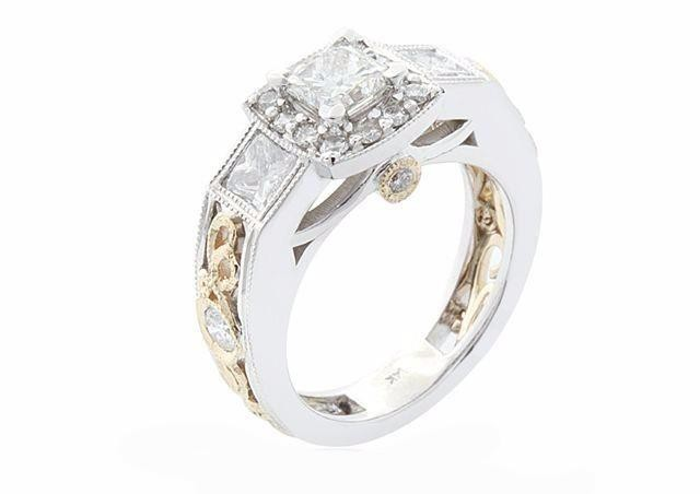 Two-Toned Filigree Engagement Ring