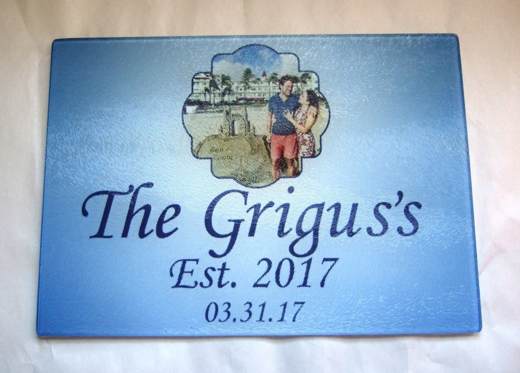 Personalized cutting board with photo and bride, groom names & date
