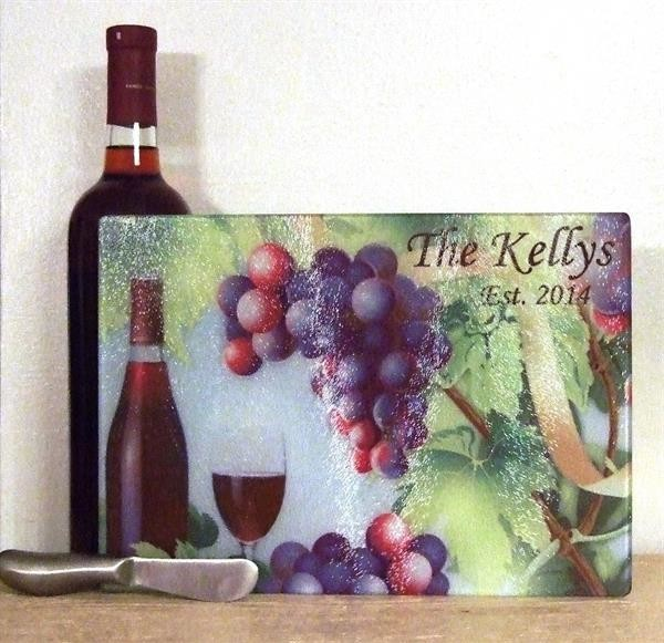 Personalized cutting board wine/grapes theme with knife spreader