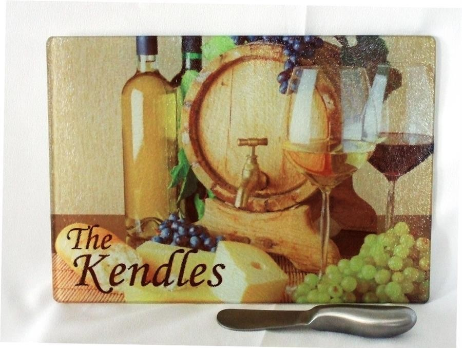 Personalized cutting board wine/wine barrel with knife spreader