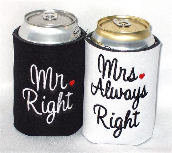 Mr and Mrs  can koozies