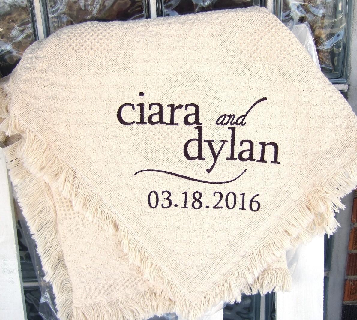 Personalized wedding blanket with swish
