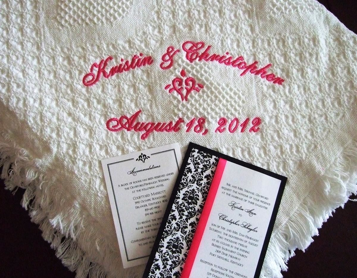 Personalized wedding blanket with stylized heart