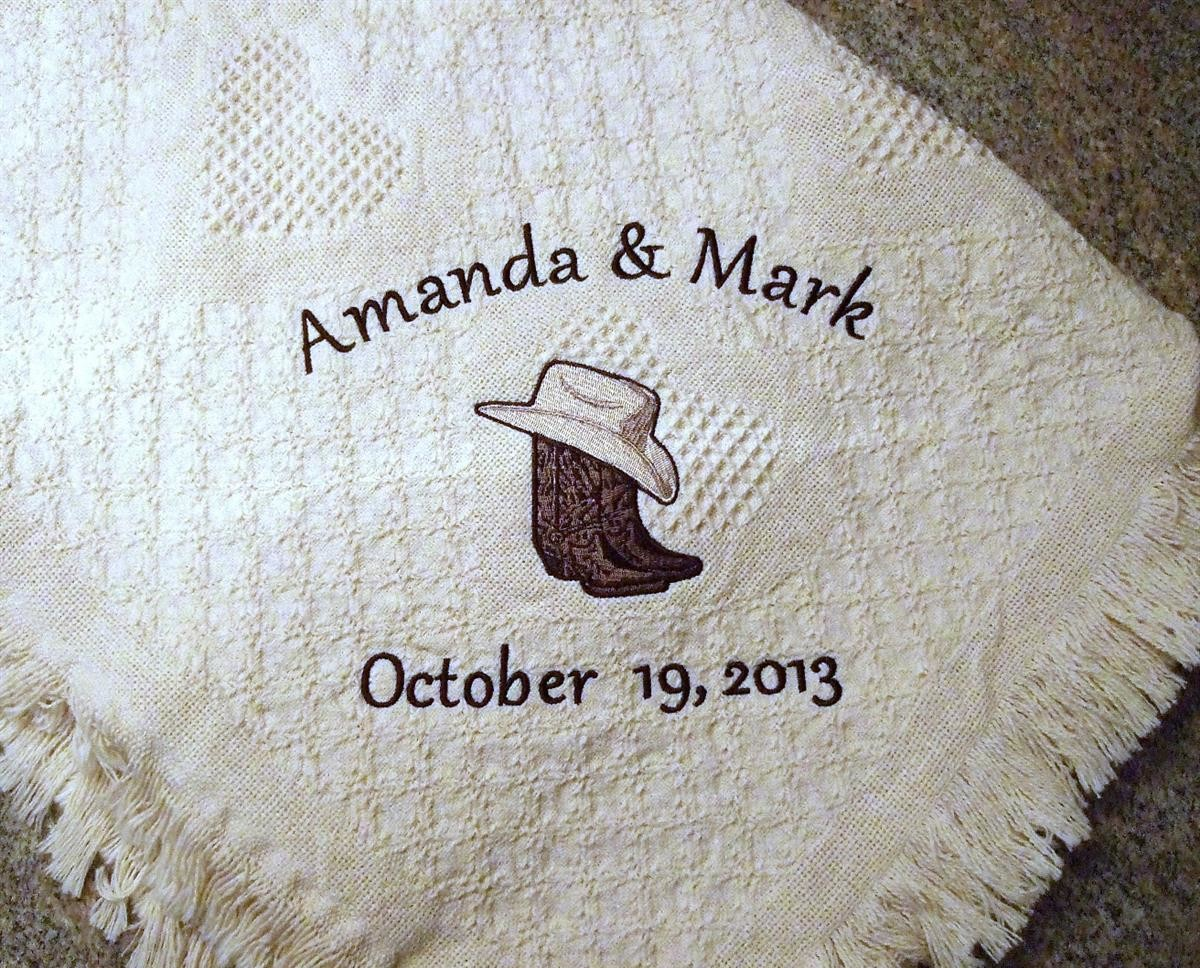Personalized wedding blanket with cowboy boots