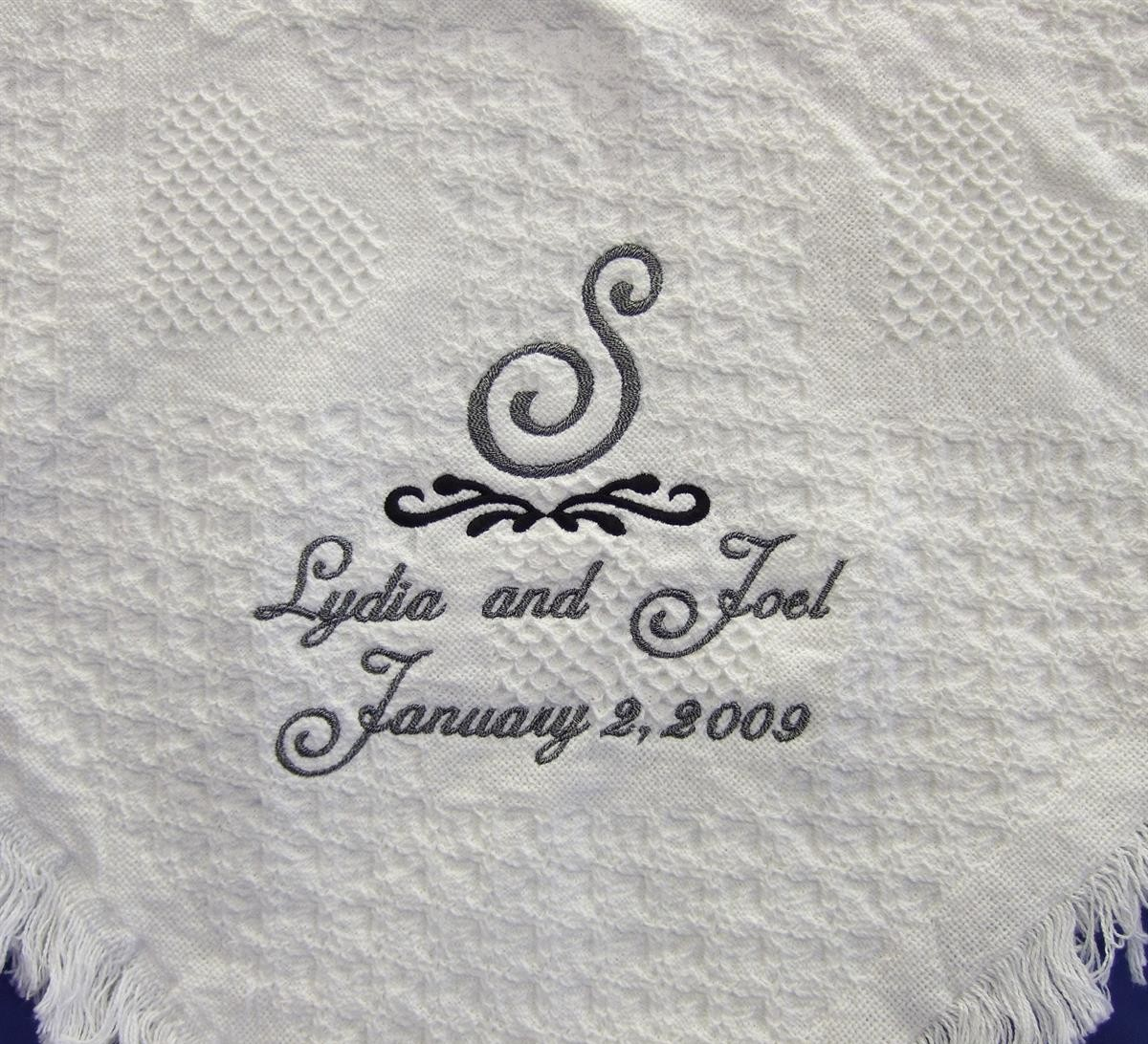 Personalized wedding blanket with Monogram & scroll