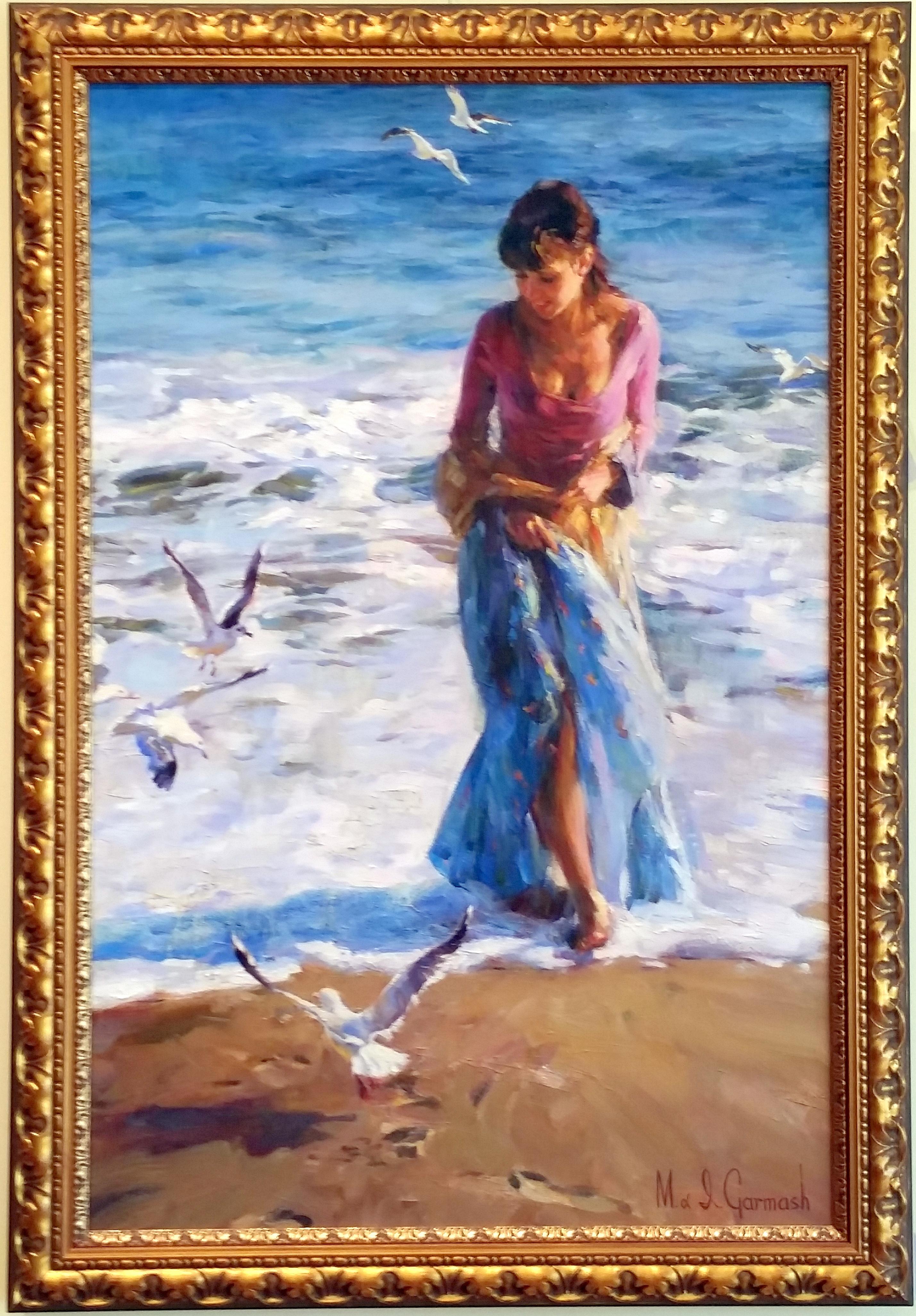 Mon Cheri, Irene Sheri, figurative, impressionistic, beach, seaside painting, oil on canvas, Garmash artists, seagulls, walk