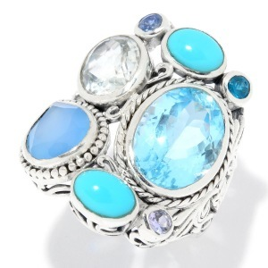Multi-Stone Blue Carved Ring
