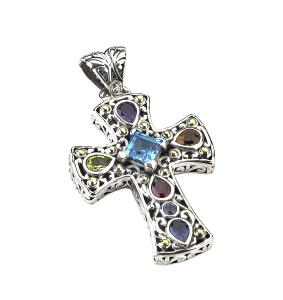 Colored Gemstone Cross Pendant