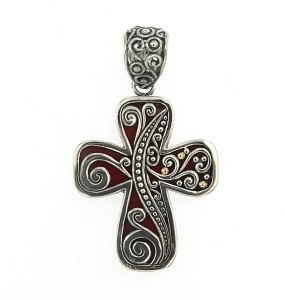 Red Coral Cross Pendant