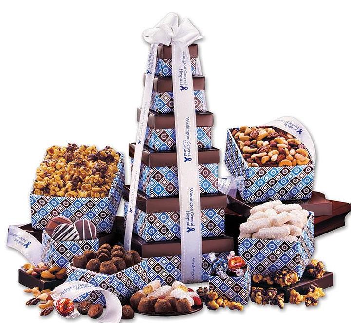 gift tower gourmet chocolate popcorn cookies