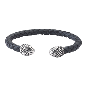 Black Leather Bangle With Cable Caps