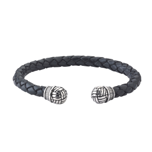 Black Leather Bangle With Woven Caps