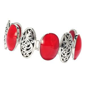 Red Coral Link Bracelet