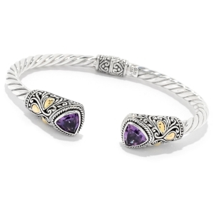 Amethyst Cable Cuff Bracelet