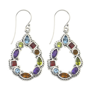Multi-Color Gemstone Open Drop Earrings