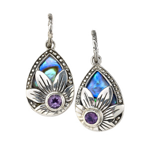 Abalone & Amethyst Flower Earrings