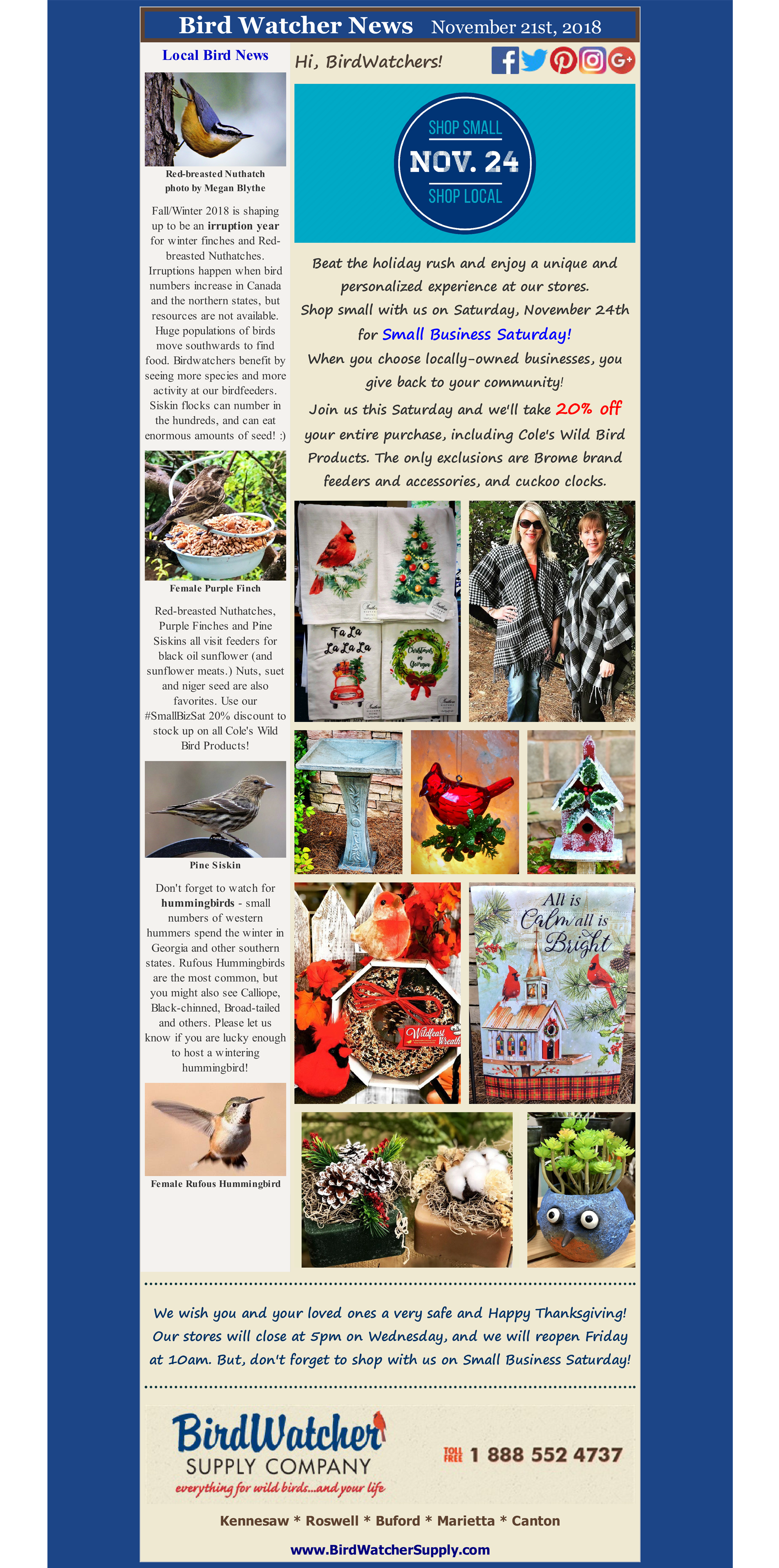 shop local, shop small, small business saturday, gifts, garden, winter finches, coupon, discount
