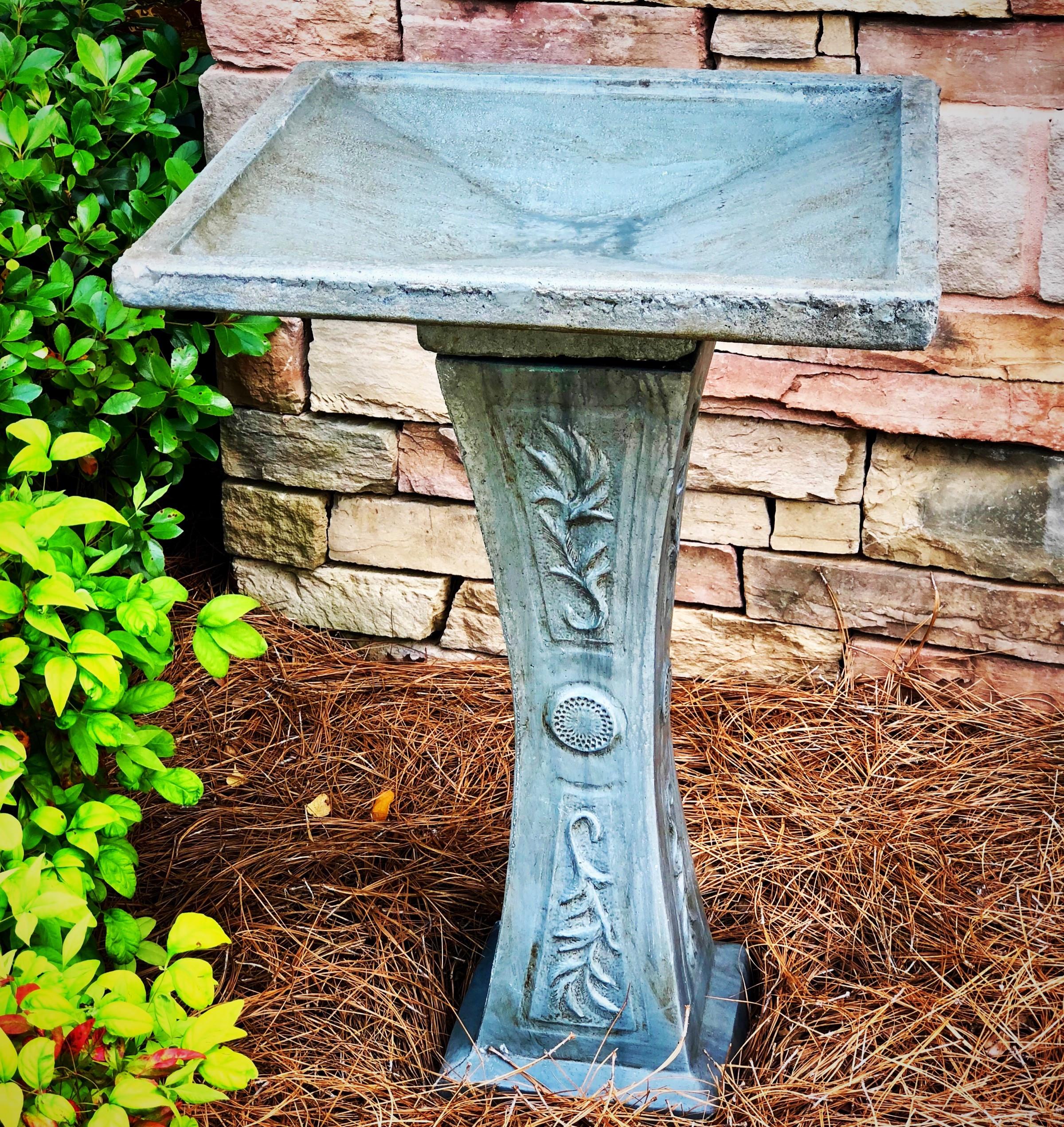 bird bath, concrete, made in america, garden, yard art