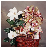 Cookies, coffee and chocolate filled gift basket.