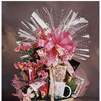 Thank you gift basket with coffee mug and cookies.