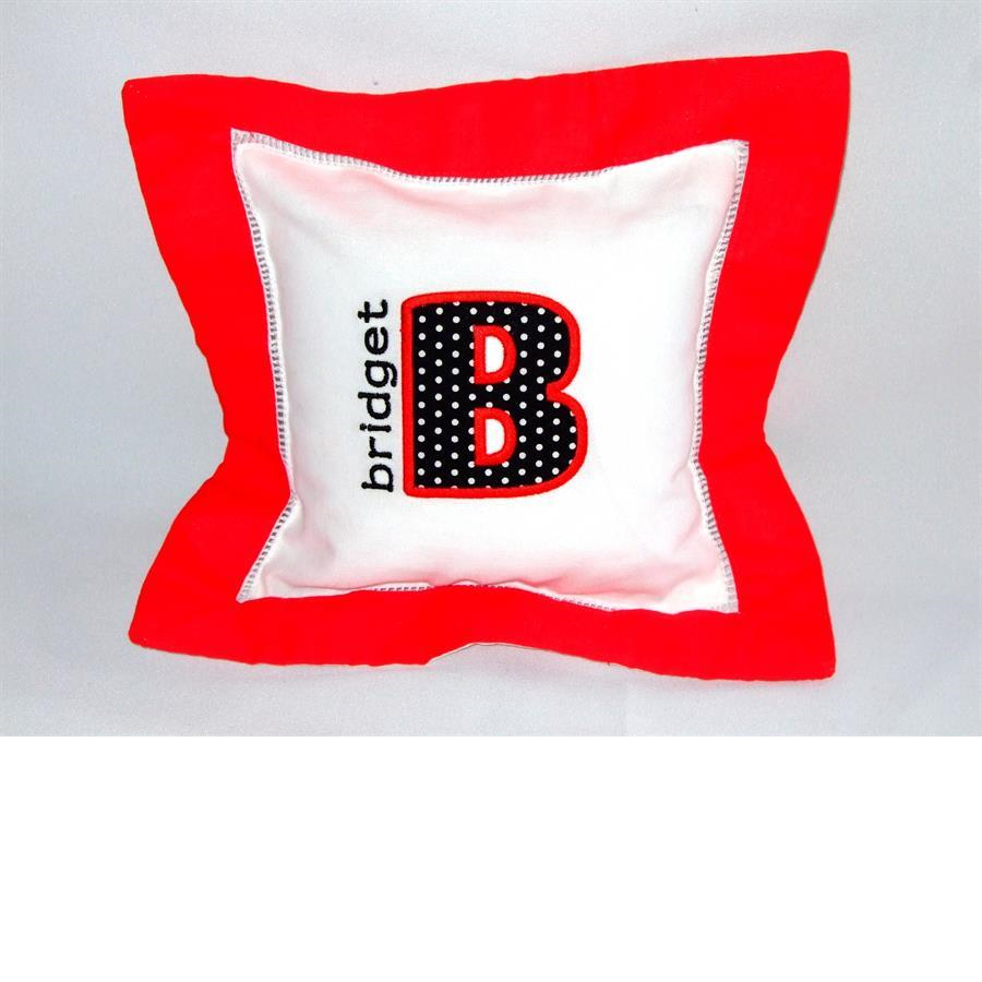 Red border pillow with applique & name