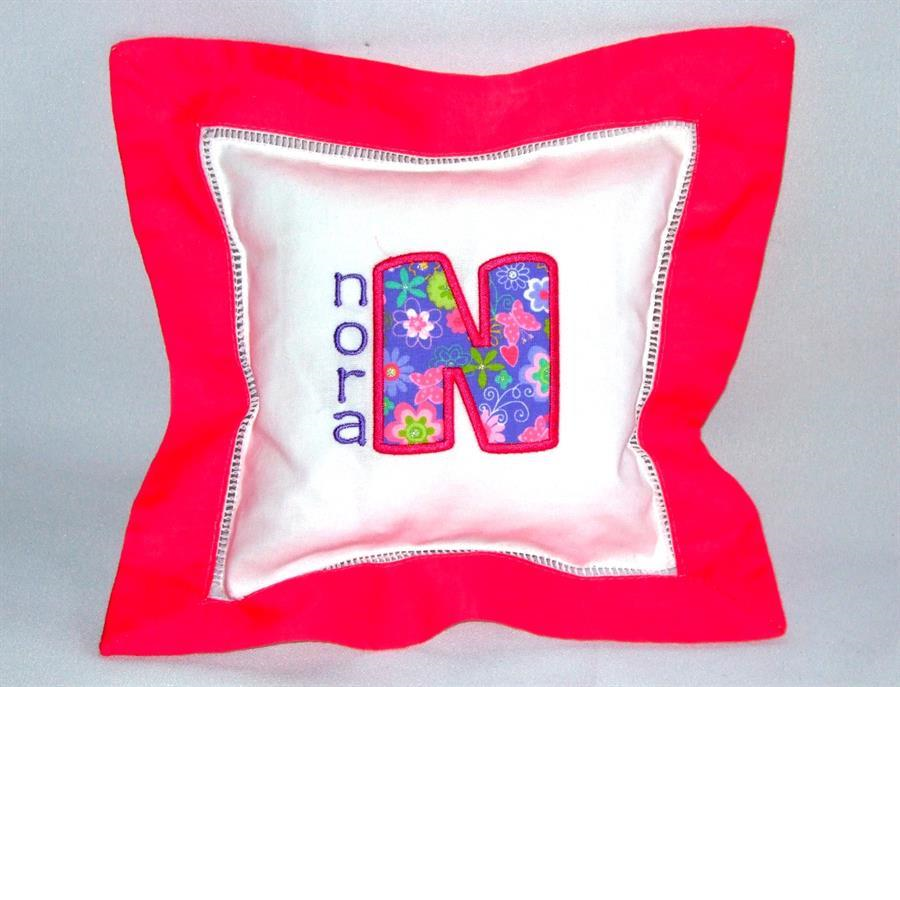 Hot Pink border pillow with applique & name