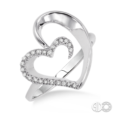 Sterling Silver and Diamond Open Heart Ring