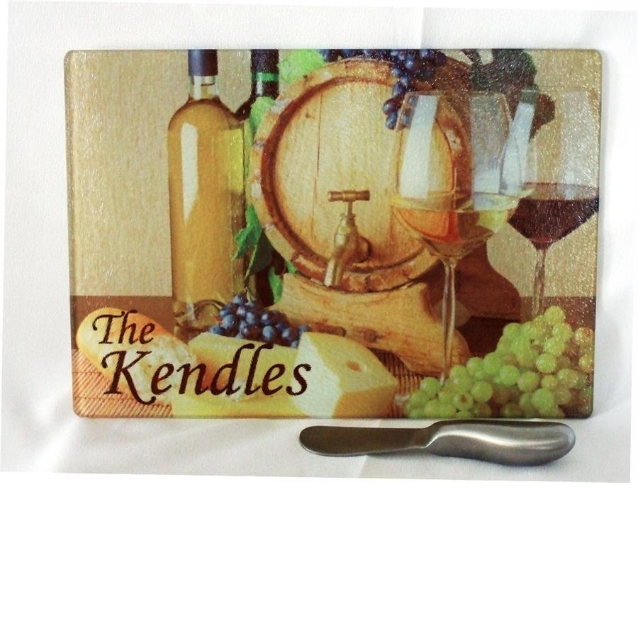 Wine Barrel theme cutting board with knife spreader