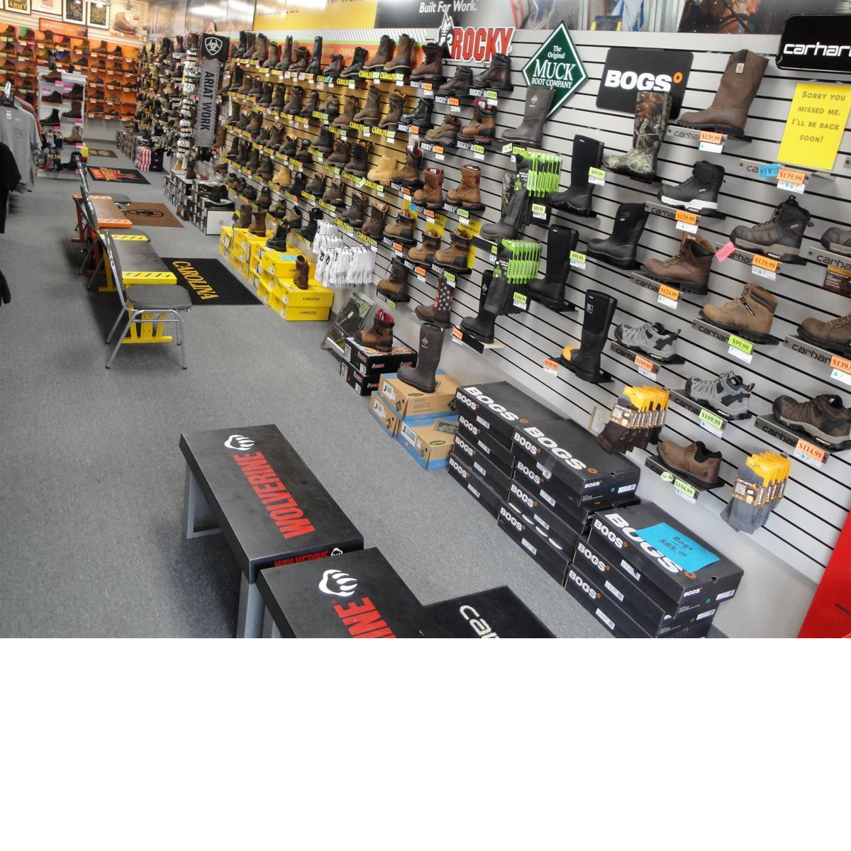 Work Boot Selection Inside Store