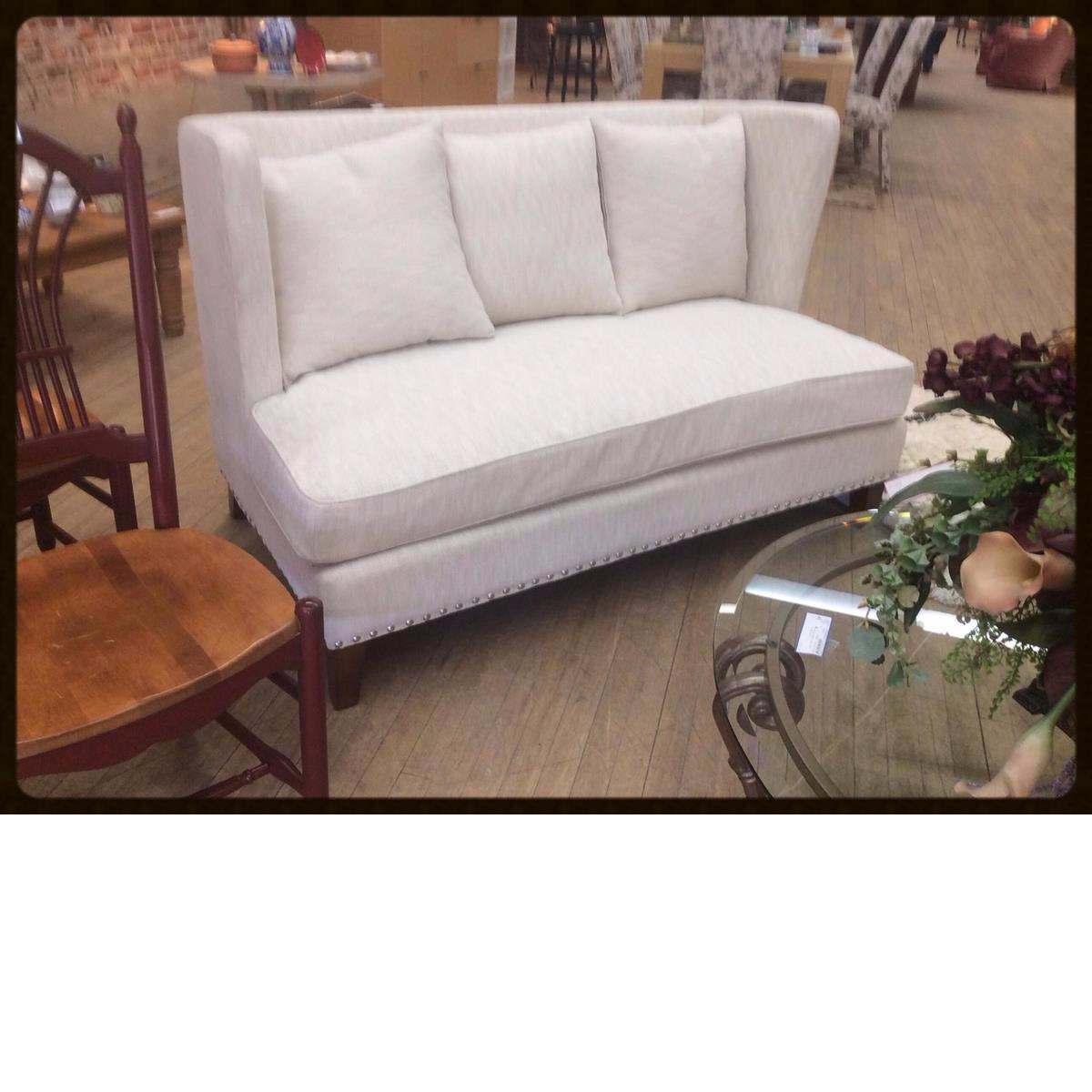 Consigned White Sofa Loveseat Couch at Refashion Consigned Furniture and Clothing