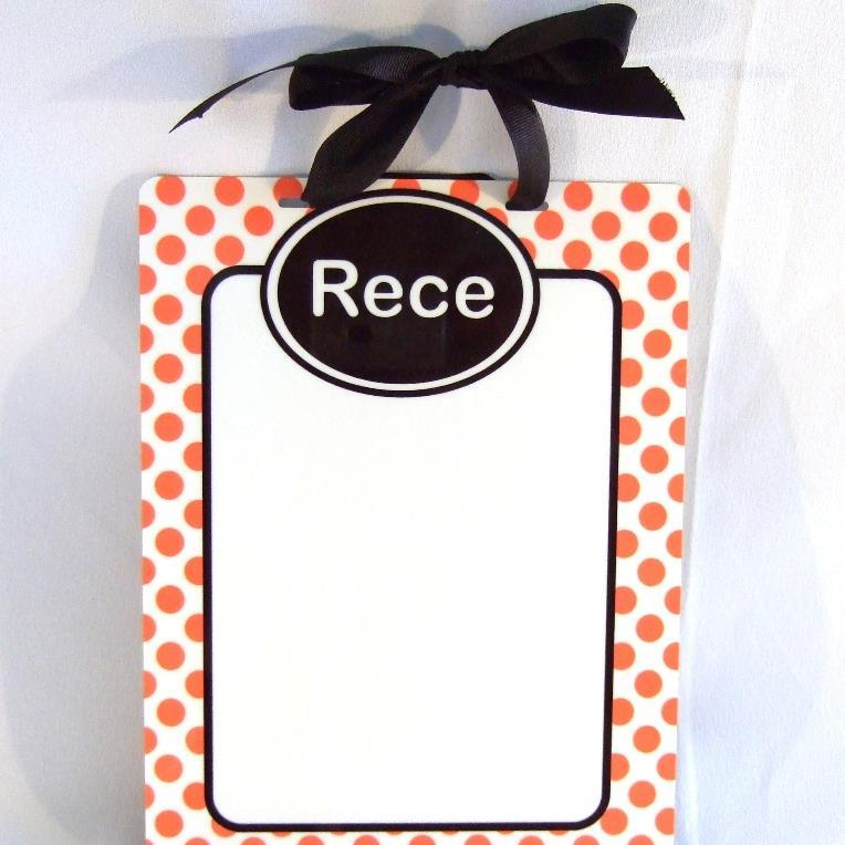Orange and white dots with black accent  Dry Erase board