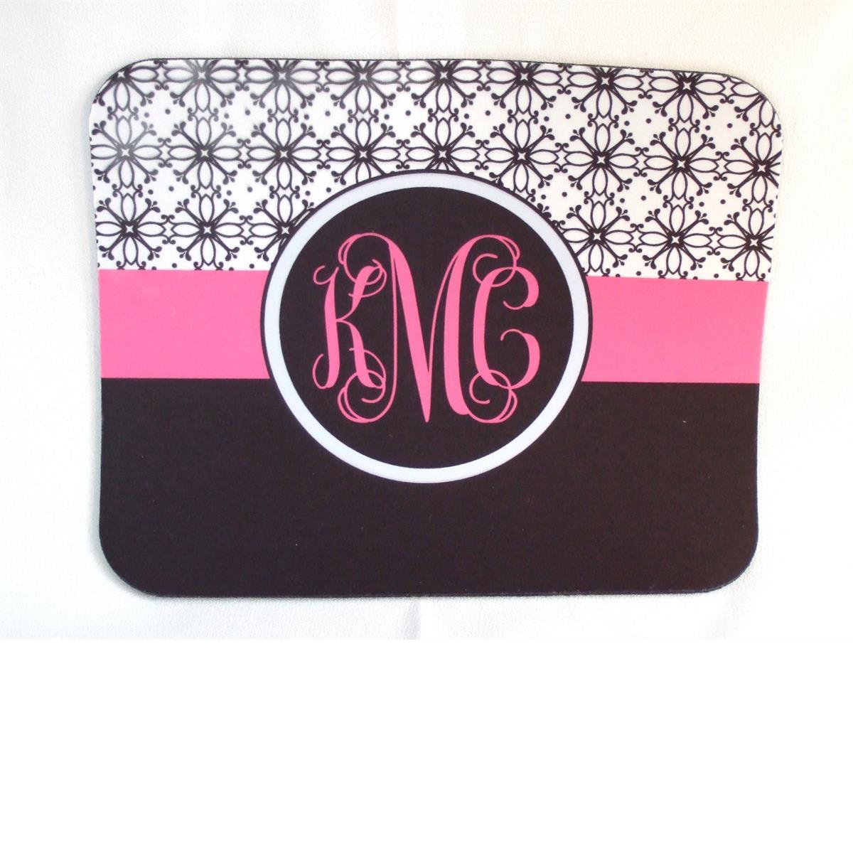 Black and white floral print with pink accent mouse pad