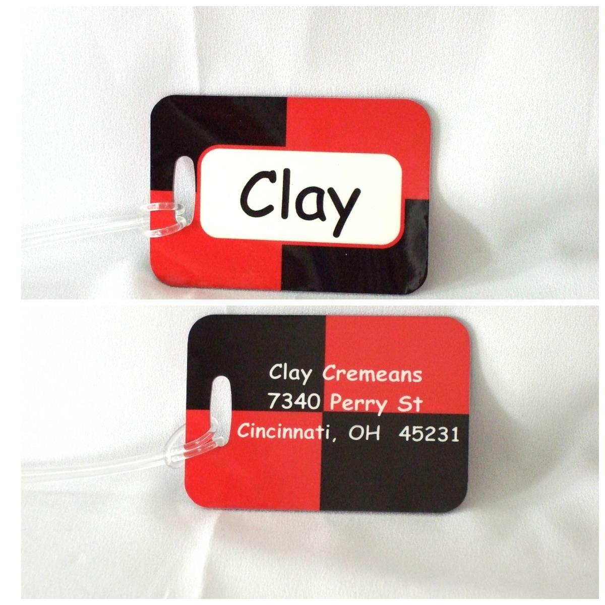 Color block red/black  luggage tags