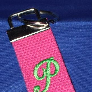 Personalized pink woven key chain
