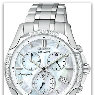 CitizenFB1250-52D Eco-Drive stainless steel chronograph watch with mother-of-pearl dial, date, created sapphire crystal, 28