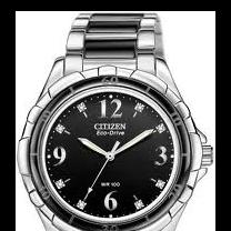 CitizenEM0031-56E Eco-Drive watch wtih black ceramic bezel & bracelet components, 8 diamond markers, 100M water resist