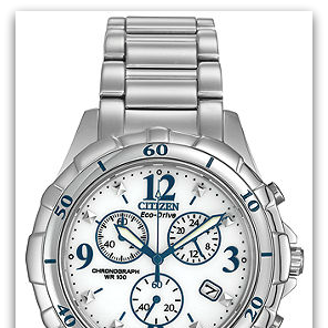 CitizenFB1350-58A Eco-Drive stainless steel chronograph watch with white dial, blue accents, date, 100M water resist