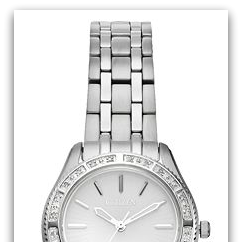 CitizenEM0240-56A Eco-Drive Carina stainless steel watch with 24 diamond bezel, white dial, general use water resist
