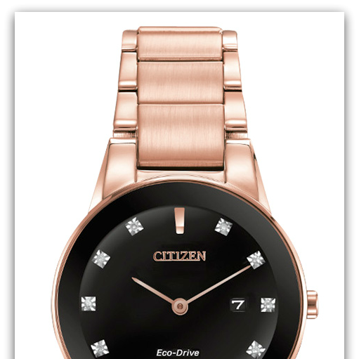 CitizenGA1058-59Q Eco-Drive rose-plated stainless steel watch with 11 diamond markers & date on black dial, edge-to-edge gla