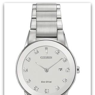 CitizenGA1050-51B Eco-Drive stainless steel watch with diamond markers, date, edge-to-edge glass, general use water resist