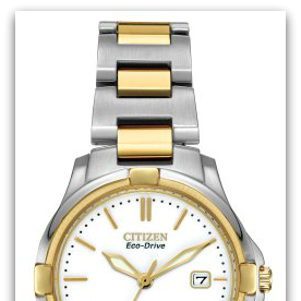 CitizenEW1964-58A Eco-Drive Silhouette two-tone stainless steel watch with white dial, date, 100M water resist