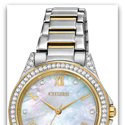 CitizenEM0234-59D Eco-Drive two-tone watch with mother-of-pearl dial, white crystals in bezel & case, Roman numerals & cryst